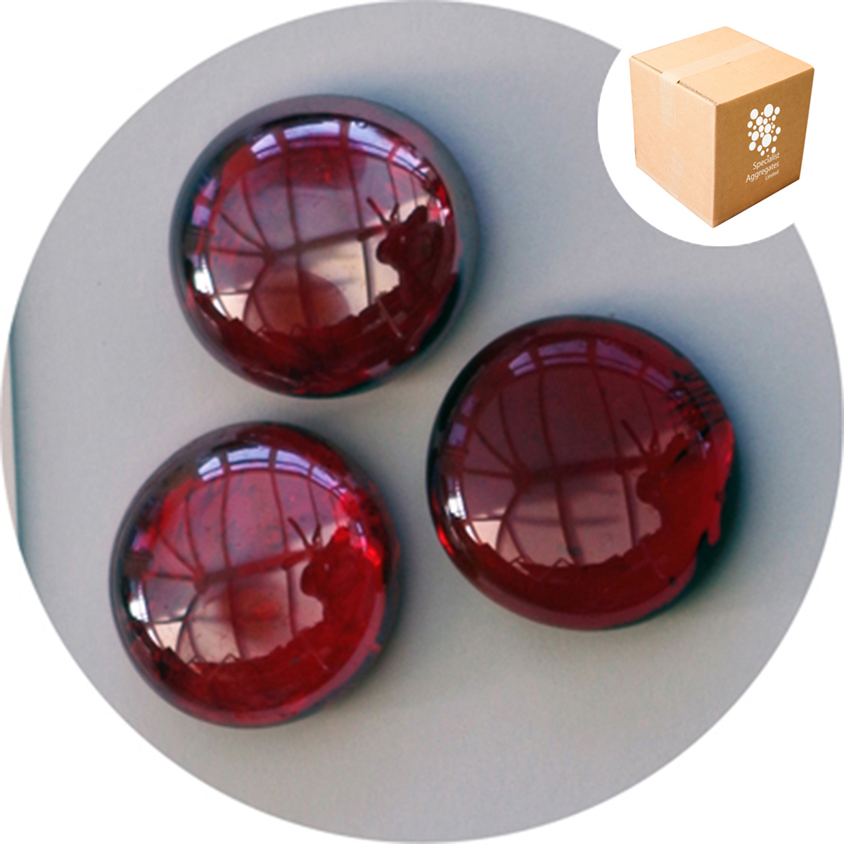 Glass Nuggets - Lustered Ruby Red
