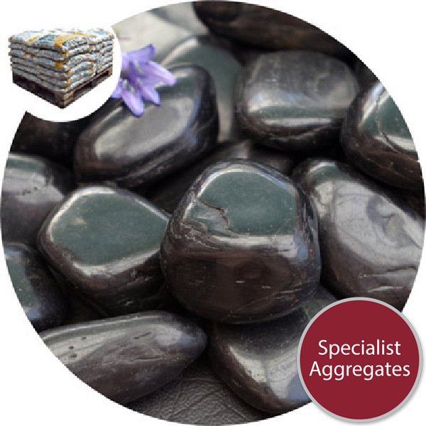 Chinese Pebbles - Polished Black Granite - Medium