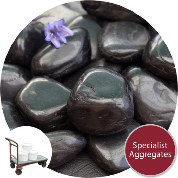 Chinese Pebbles - Polished Black Granite - Medium - Collect