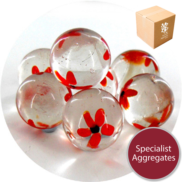 Glass Marbles - Clear with Red Flowers