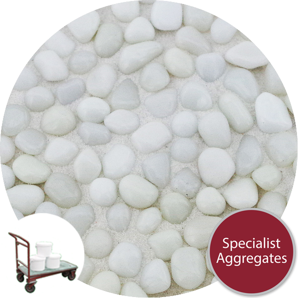 Glass Pea Gravel - Opaque White - Click & Collect